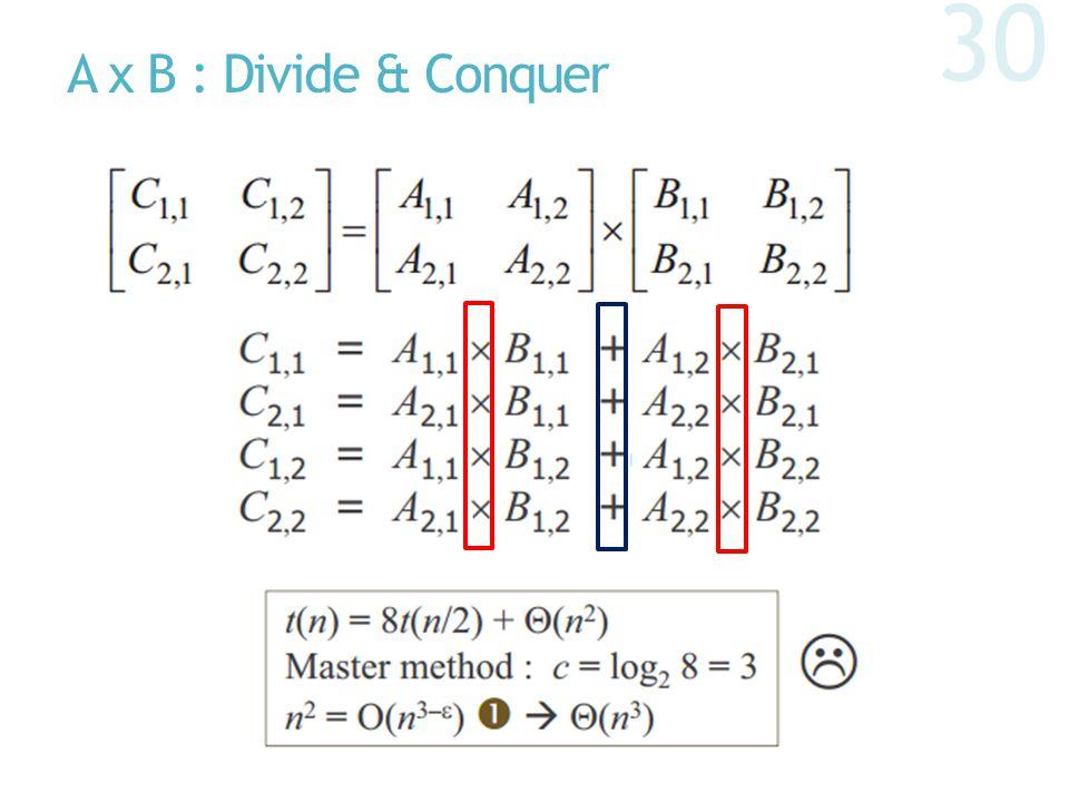 A x B : Divide & Conquer 30