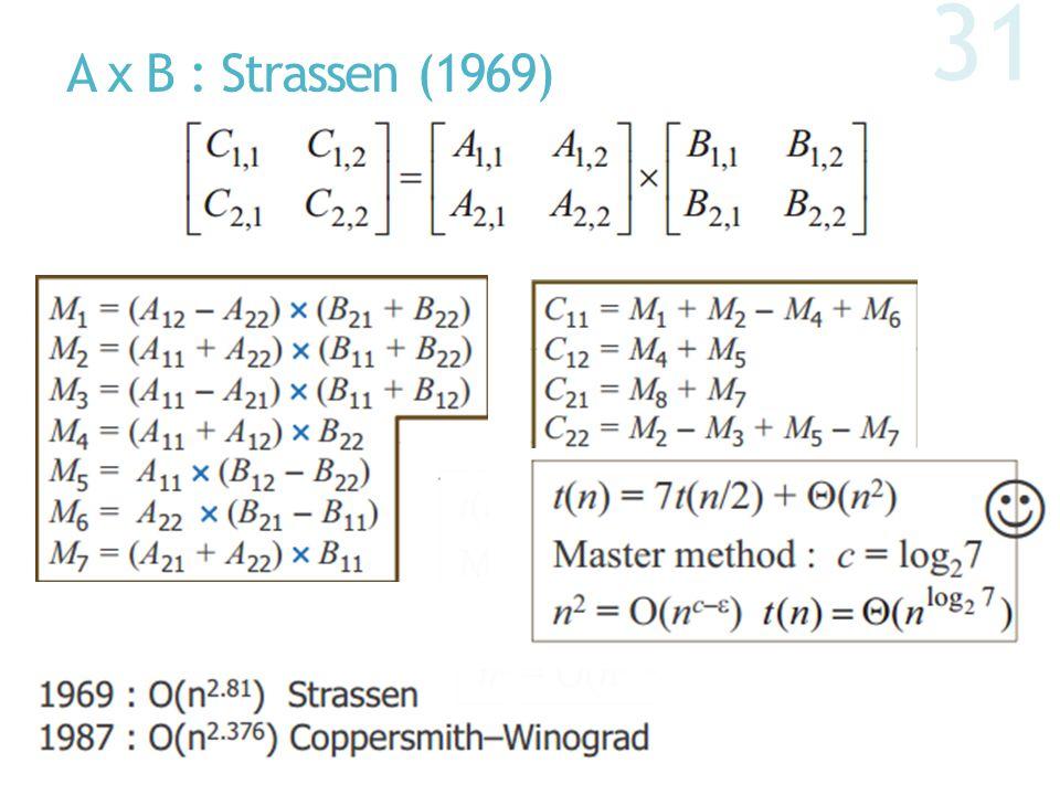 A x B : Strassen (1969) 31