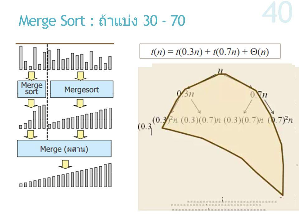 Merge Sort : ถ้าแบ่ง 30 - 70 40