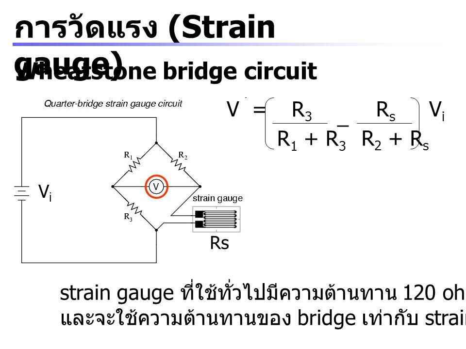 การวัดแรง (Strain gauge) Wheatstone bridge circuit V = R3R3 R 1 + R 3 RsRs R 2 + R s _ ViVi Rs ViVi strain gauge ที่ใช้ทั่วไปมีความต้านทาน 120 ohm, 35