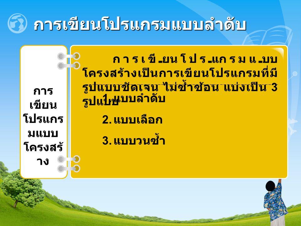 สัญลักษณ์ผังงานที่ใช้ในการเขียน ผังงานแบบลำดับ เริ่มต้น หรือ จบการทำงาน กำหนดค่า, การประมวลผล, ปฏิบัติการ เช่น คำสั่ง BackColor = Color.Yellow; รับเข้า หรือ แสดงผล เช่น MessageBox.Show( Hello ); เป็นคำสั่งแสดงผล แสดงทิศทางการเชื่อมโยงของผังงาน