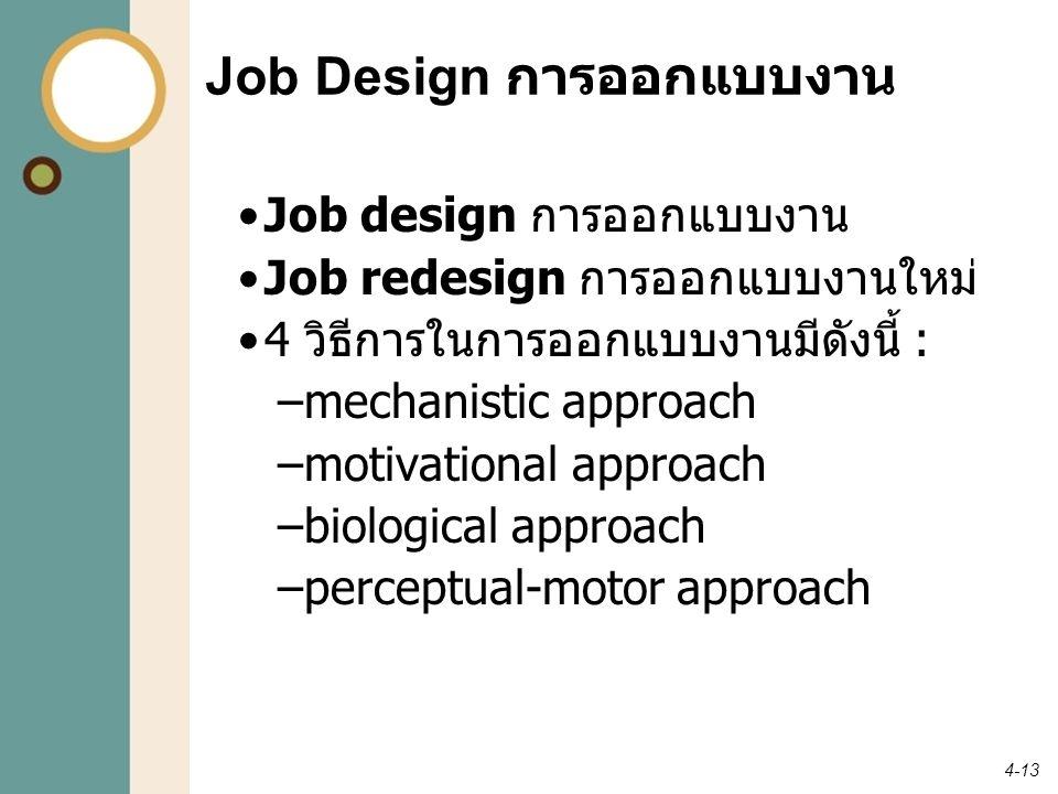 4-13 Job Design การออกแบบงาน Job design การออกแบบงาน Job redesign การออกแบบงานใหม่ 4 วิธีการในการออกแบบงานมีดังนี้ : –mechanistic approach –motivation