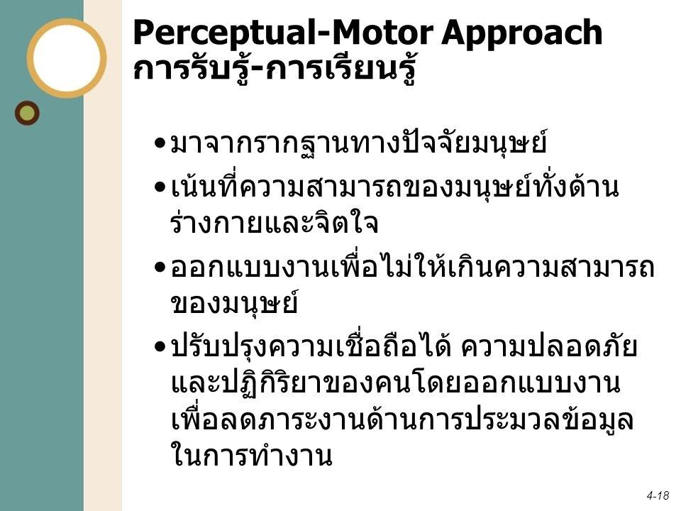 4-18 Perceptual-Motor Approach การรับรู้ - การเรียนรู้ มาจากรากฐานทางปัจจัยมนุษย์ เน้นที่ความสามารถของมนุษย์ทั่งด้าน ร่างกายและจิตใจ ออกแบบงานเพื่อไม่