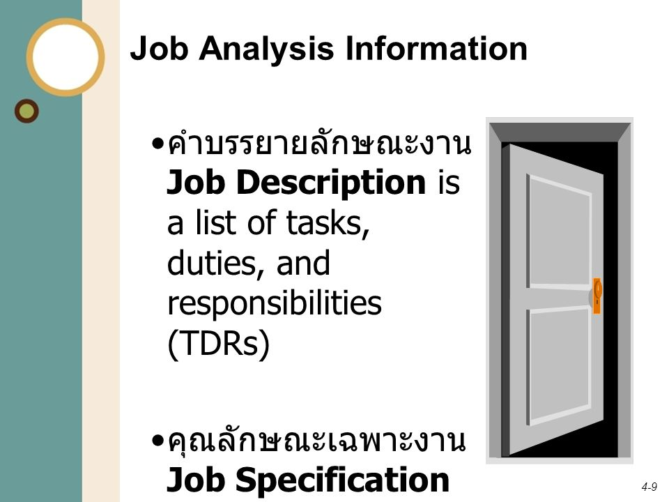 4-10 Sample Job Description Job Title: Maintenance Mechanic General Description of Job: General maintenance and repair of all equipment used in the operations of a particular district.