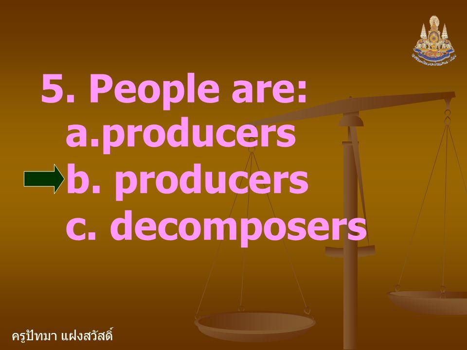 ครูปัทมา แฝงสวัสดิ์ 5. People are: a.producers b. producers c. decomposers