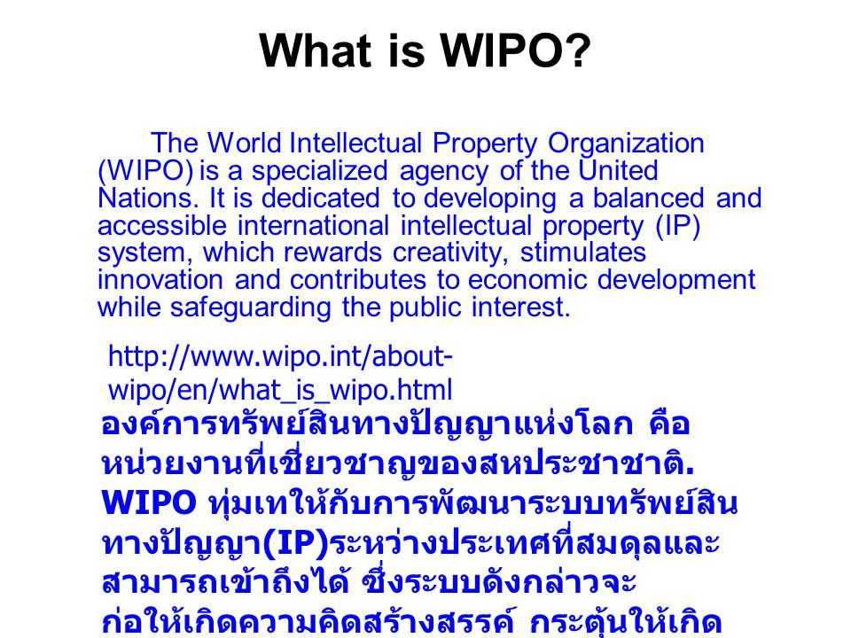 What is WIPO.
