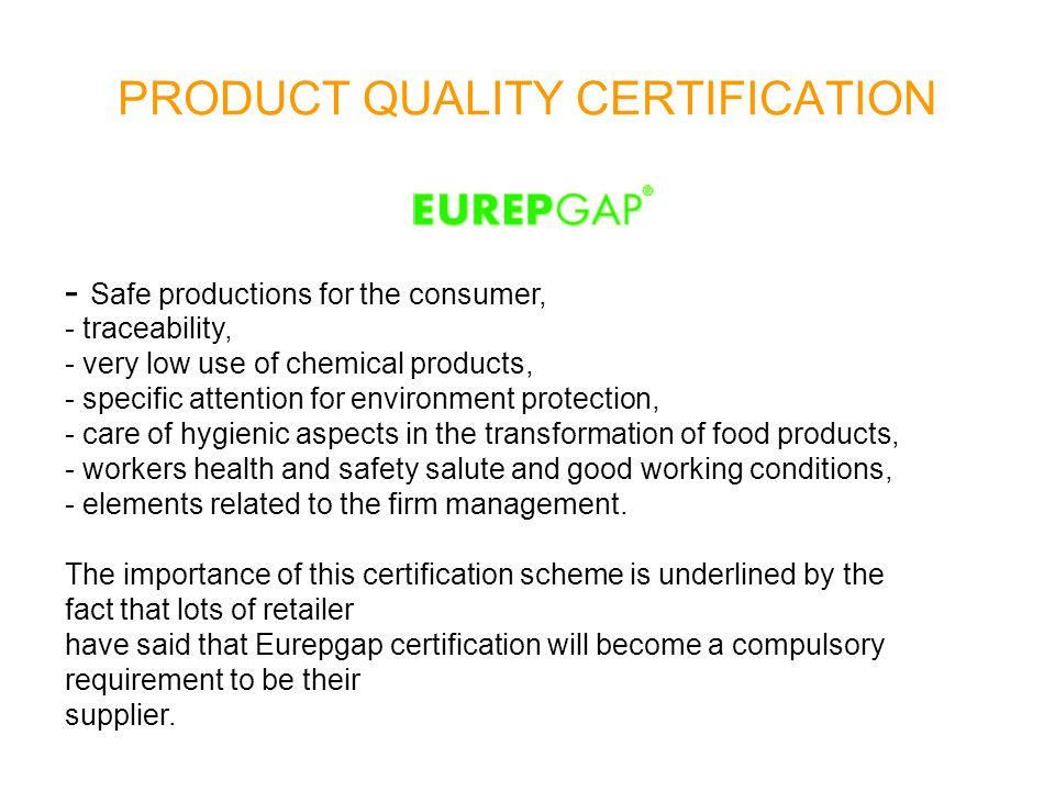 PRODUCT QUALITY CERTIFICATION