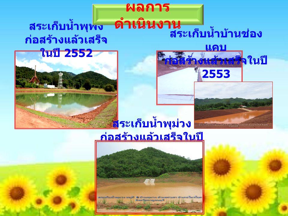 สระเก็บน้ำพุพง ก่อสร้างแล้วเสร็จ ในปี 2552 ผลการ ดำเนินงาน สระเก็บน้ำบ้านช่อง แคบ ก่อสร้างแล้วเสร็จในปี 2553 สระเก็บน้ำพุม่วง ก่อสร้างแล้วเสร็จในปี 2554
