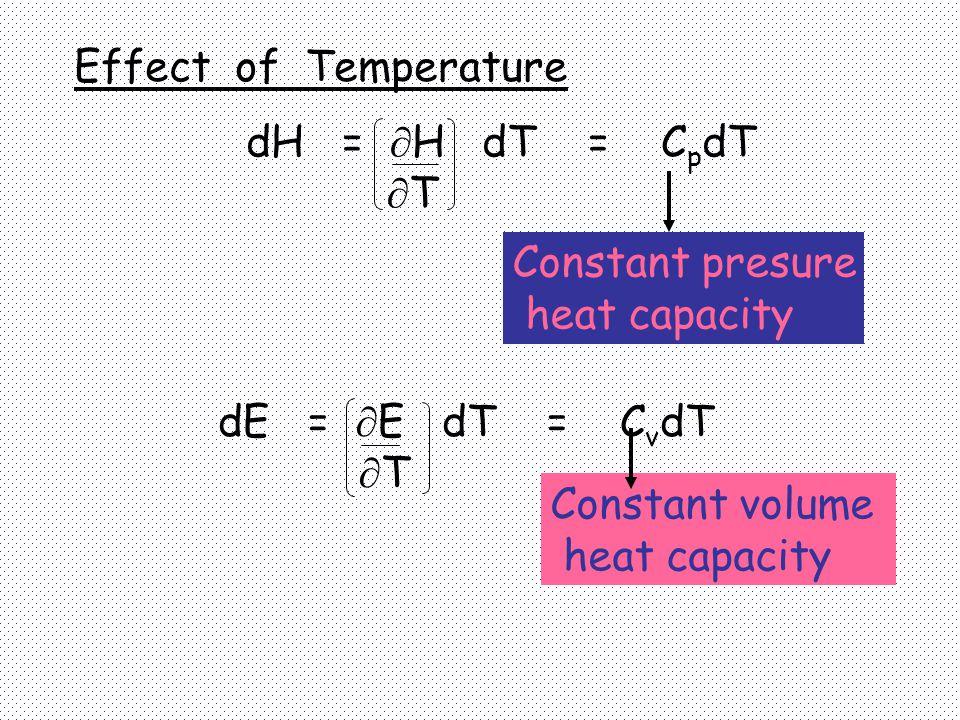 dE =  E dT = C v dT  T Constant presure heat capacity Constant volume heat capacity Effect of Temperature dH =  H dT = C p dT  T