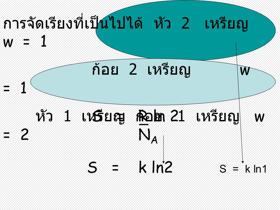 การจัดเรียงที่เป็นไปได้ หัว 2 เหรียญ w = 1 ก้อย 2 เหรียญ w = 1 หัว 1 เหรียญ ก้อย 1 เหรียญ w = 2 S = R ln 2 N A S = k ln2 S = k ln1