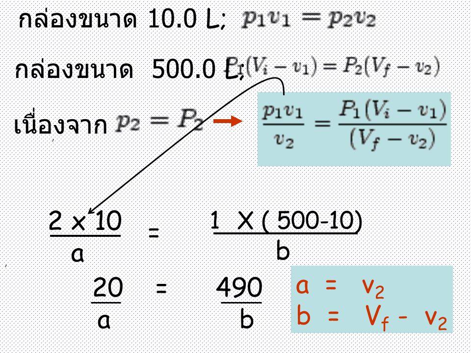, กล่องขนาด 10.0 L; กล่องขนาด 500.0 L;, เนื่องจาก 2 x 10 a = 1X ( 500-10) b 20 = 490 a b a = v 2 b = V f - v 2