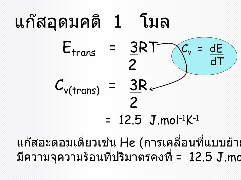 แก๊สอุดมคติ 1 โมล E trans = 3RT 2 C v(trans) = 3R 2 = 12.5 J.mol -1 K -1 แก๊สอะตอมเดี่ยวเช่น He ( การเคลื่อนที่แบบย้ายที่เท่านั้น ) มีความจุความร้อนที่ปริมาตรคงที่ = 12.5 J.mol -1 K -1 C v = dE dT