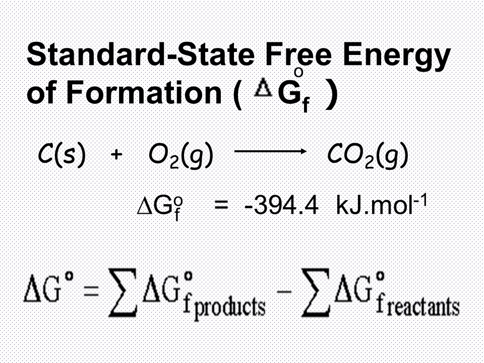 Standard-State Free Energy of Formation ( G f ) o C(s) + O 2 (g) CO 2 (g)  G o = -394.4 kJ.mol -1 f