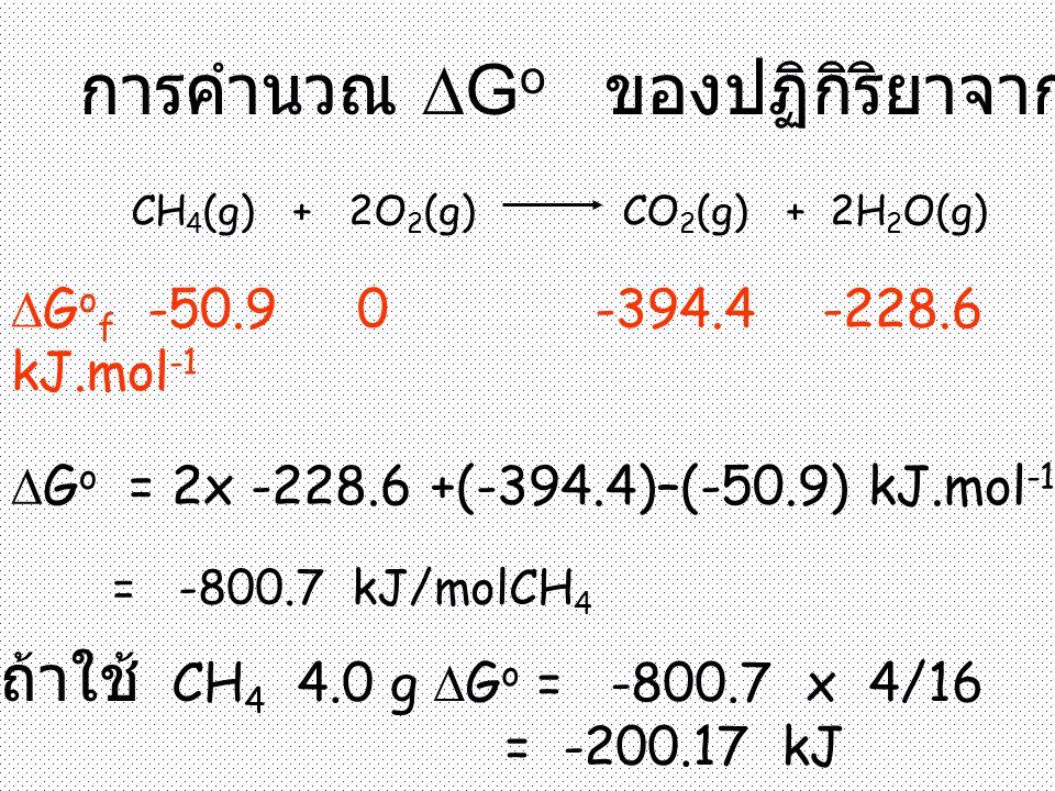 การคำนวณ  G o ของปฏิกิริยาจาก  G o f CH 4 (g) + 2O 2 (g) CO 2 (g) + 2H 2 O(g)  G o f -50.9 0 -394.4 -228.6 kJ.mol -1  G o = 2x -228.6 +(-394.4)–(-50.9) kJ.mol -1 = -800.7 kJ/molCH 4 ถ้าใช้ CH 4 4.0 g  G o = -800.7 x 4/16 = -200.17 kJ