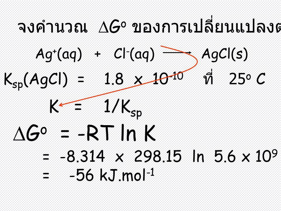 จงคำนวณ  G o ของการเปลี่ยนแปลงต่อไปนี้ Ag + (aq) + Cl - (aq) AgCl(s) K sp (AgCl) = 1.8 x 10 -10 ที่ 25 o C  G o = -RT ln K = -8.314 x 298.15 ln 5.6 x 10 9 = -56 kJ.mol -1 K = 1/K sp