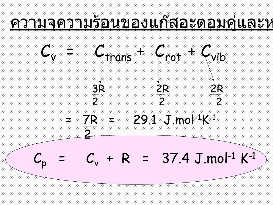 ความจุความร้อนของแก๊สอะตอมคู่และหลายอะตอม C v = C trans + C rot + C vib 3R 2R 2R 2 2 2 = 7R = 29.1 J.mol -1 K -1 2 C p = C v + R = 37.4 J.mol -1 K -1