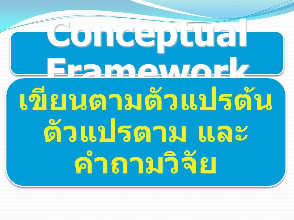 Conceptual Framework เขียนตามตัวแปรต้น ตัวแปรตาม และ คำถามวิจัย