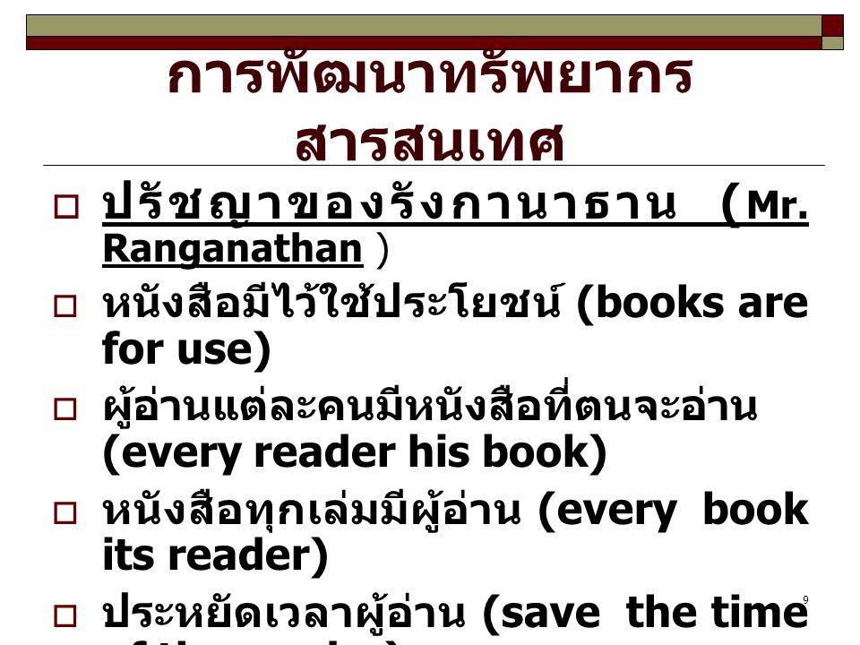 9 การพัฒนาทรัพยากร สารสนเทศ  ปรัชญาของรังกานาธาน ( Mr. Ranganathan )  หนังสือมีไว้ใช้ประโยชน์ (books are for use)  ผู้อ่านแต่ละคนมีหนังสือที่ตนจะอ่