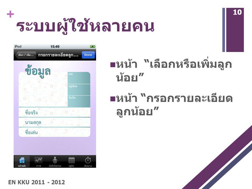 + ระบบผู้ใช้หลายคน หน้า เลือกหรือเพิ่มลูก น้อย หน้า กรอกรายละเอียด ลูกน้อย 10 EN KKU 2011 - 2012