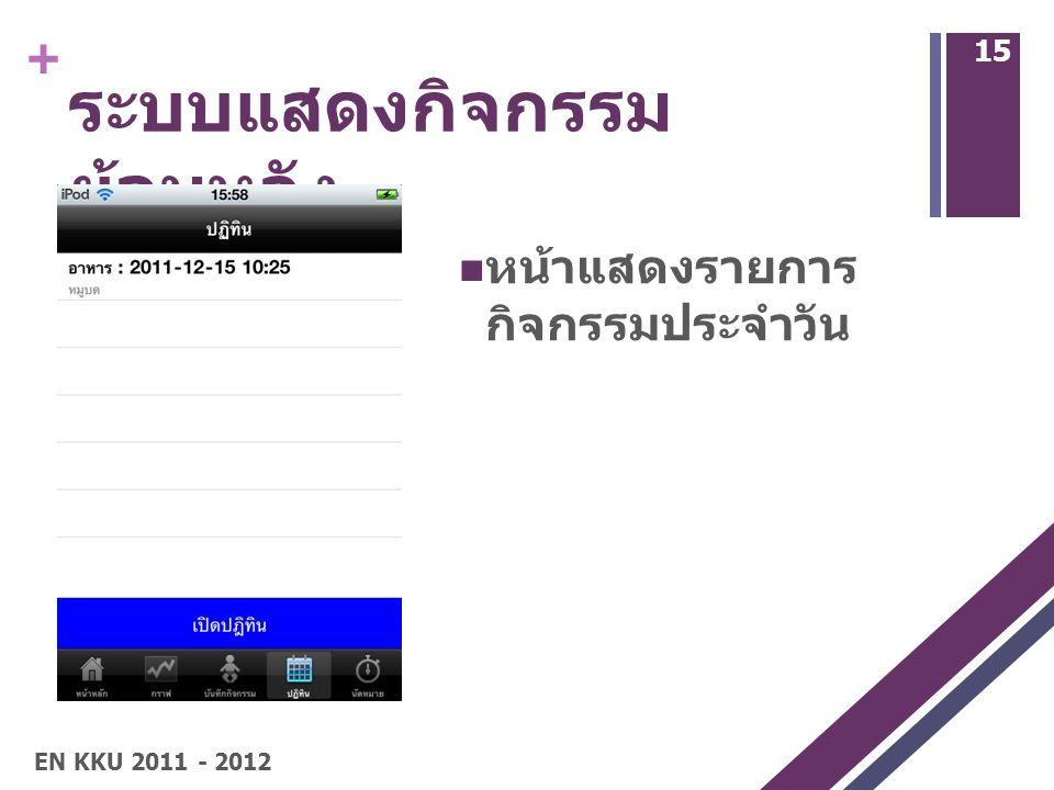 + ระบบแสดงกิจกรรม ย้อนหลัง หน้าแสดงรายการ กิจกรรมประจำวัน 15 EN KKU 2011 - 2012