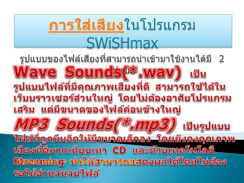 การใส่เสียงการใส่เสียงในโปรแกรม SWiSHmax รูปแบบของไฟล์เสียงที่สามารถนำเข้ามาใช้งานได้มี 2 รูปแบบ การใส่เสียงการใส่เสียงในโปรแกรม SWiSHmax รูปแบบของไฟล์เสียงที่สามารถนำเข้ามาใช้งานได้มี 2 รูปแบบ ( คลิกเมนู Insert  Content  เลือกไฟล์เสียง )