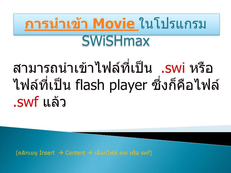 การนำเข้า Movie การนำเข้า Movie ในโปรแกรม SWiSHmax การนำเข้า Movie การนำเข้า Movie ในโปรแกรม SWiSHmax ( คลิกเมนู Insert  Content  เลือกไฟล์ swi หรือ swf)
