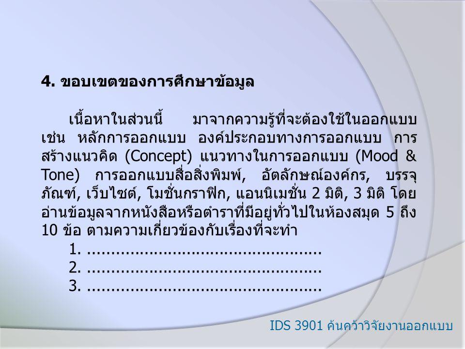 IDS 3901 ค้นคว้าวิจัยงานออกแบบ 4.