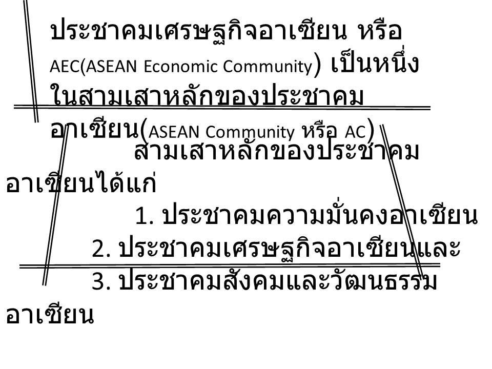 ประชาคมเศรษฐกิจอาเซียน หรือ AEC(ASEAN Economic Community ) เป็นหนึ่ง ในสามเสาหลักของประชาคม อาเซียน ( ASEAN Community หรือ AC ) สามเสาหลักของประชาคม อาเซียนได้แก่ 1.
