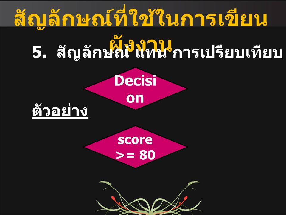 สัญลักษณ์ที่ใช้ในการเขียน ผังงาน 5. สัญลักษณ์ แทน การเปรียบเทียบ / ตัดสินใจ ตัวอย่าง Decisi on score >= 80