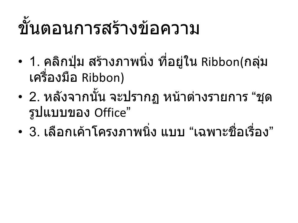 ขั้นตอนการสร้างข้อความ 1.คลิกปุ่ม สร้างภาพนิ่ง ที่อยู่ใน Ribbon( กลุ่ม เครื่องมือ Ribbon) 2.