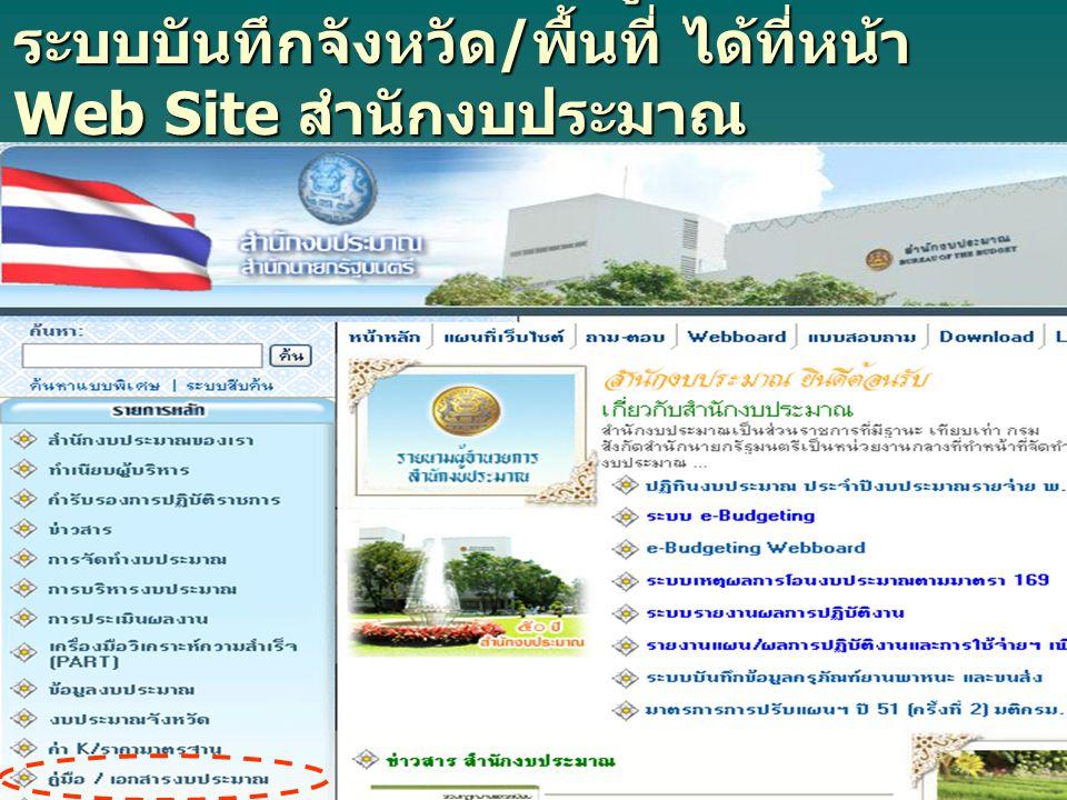 - สามารถ Download คู่มือการใช้งาน ระบบบันทึกจังหวัด / พื้นที่ ได้ที่หน้า Web Site สำนักงบประมาณ http://www.bb.go.th