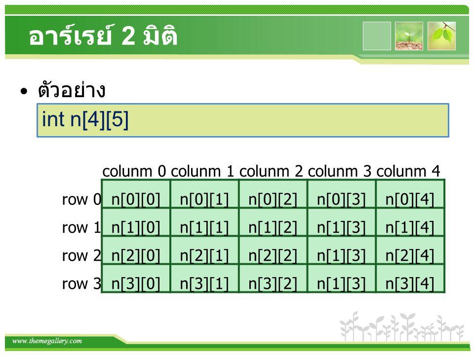 www.themegallery.com อาร์เรย์ 2 มิติ การกำหนดค่าเริ่มต้นให้อาร์เรย์ 2 มิติ int a[4][5] = { {1,2,3,4,5}, {6,7,8,9,10}, {11,12,13,14,15}, {16,17,18,19,20}}; int a[4][5] ={1,2,3,4,5,6,7,8,9,10,11,12,13,14,15,16,17,18,19,20};