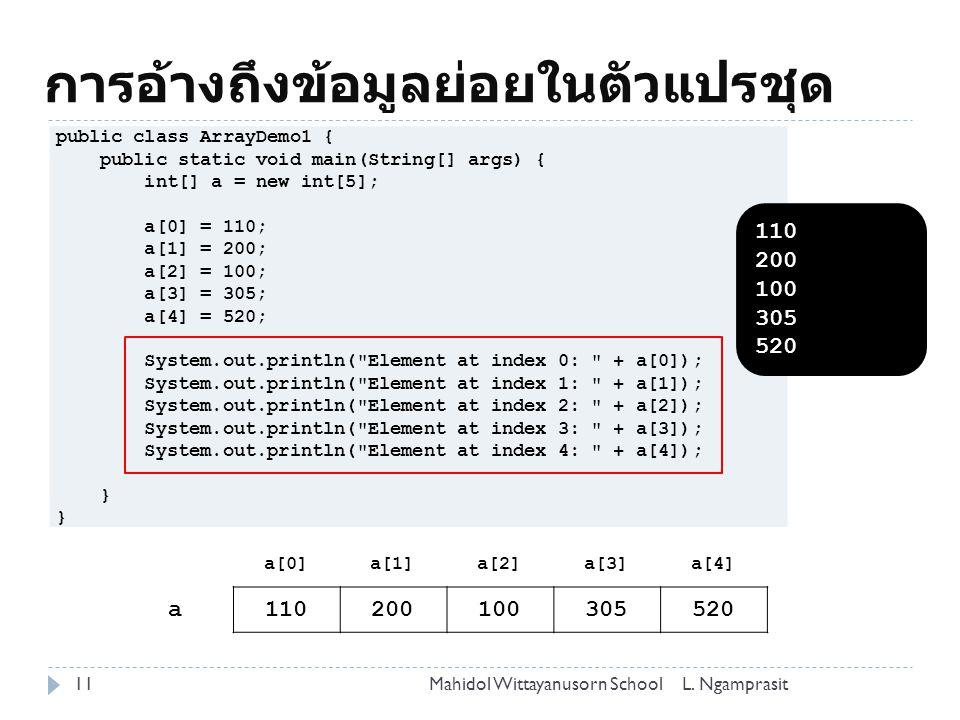 การอ้างถึงข้อมูลย่อยในตัวแปรชุด 11L.