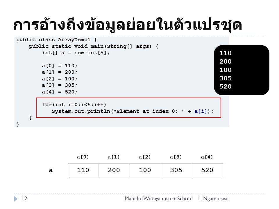 การอ้างถึงข้อมูลย่อยในตัวแปรชุด 12L.