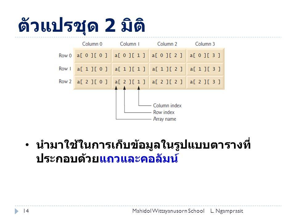 ตัวแปรชุด 2 มิติ 14L.
