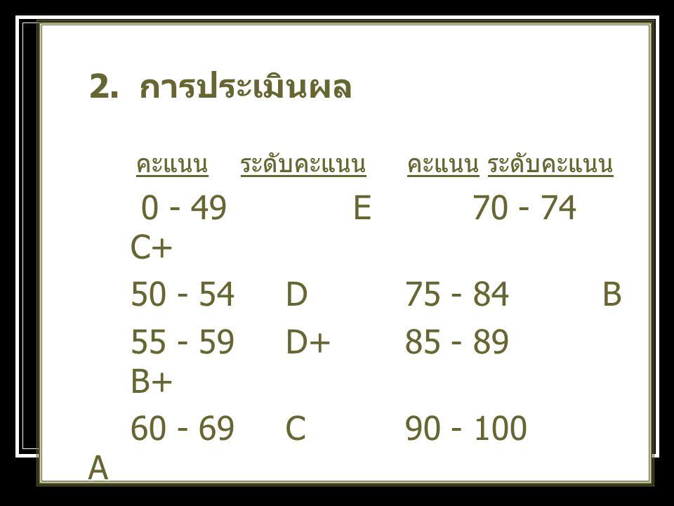 2. การประเมินผล คะแนน ระดับคะแนน คะแนน ระดับคะแนน คะแนน ระดับคะแนน คะแนน ระดับคะแนน 0 - 49 E 70 - 74 C+ 0 - 49 E 70 - 74 C+ 50 - 54 D 75 - 84B 55 - 59