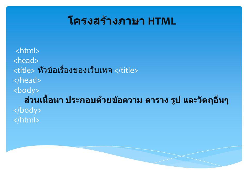 การบันทึกเว็บเพจ โปรดจำไว้ว่า : ทุกครั้งที่เริ่มเขียน HTML ควรจะ save ด้วย Save As ทุกครั้ง มิฉะนั้น เอกสารที่ save ได้จะอยู่ในรูปที่โปรแกรมนั้นกำหนดไว้ ซึ่งอาจไม่ได้อยู่ในรูปของ TEXT แต่หากจะ save ทับของเก่า หลังจากแก้ไขหรือเพิ่มเติม ให้กดที่ save อย่างเดียวได้ การตั้งชื่อเว็บเพจทที่สร้างขึ้นมา การตั้งชื่อเอกสารสำคัญมาก จะต้องตั้งชื่อก่อนเป็น ภาษาอังกฤษ แล้วตามด้วย.html