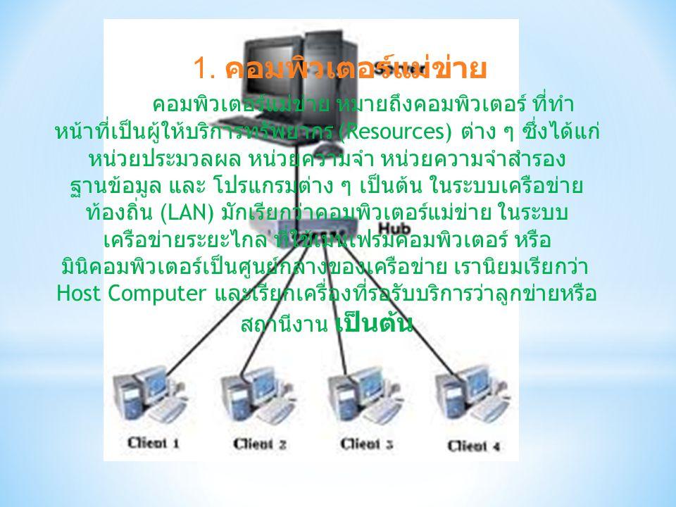 1. คอมพิวเตอร์แม่ข่าย คอมพิวเตอร์แม่ข่าย หมายถึงคอมพิวเตอร์ ที่ทำ หน้าที่เป็นผู้ให้บริการทรัพยากร (Resources) ต่าง ๆ ซึ่งได้แก่ หน่วยประมวลผล หน่วยควา