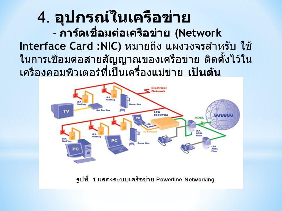 4. อุปกรณ์ในเครือข่าย - การ์ดเชื่อมต่อเครือข่าย (Network Interface Card :NIC) หมายถึง แผงวงจรสำหรับ ใช้ ในการเชื่อมต่อสายสัญญาณของเครือข่าย ติดตั้งไว้