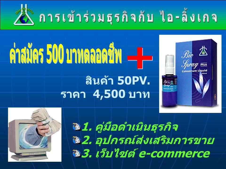 1. คู่มือดำเนินธุรกิจ 2. อุปกรณ์ส่งเสริมการขาย 3. เว็บไซต์ e-commerce สินค้า 50PV. ราคา 4,500 บาท