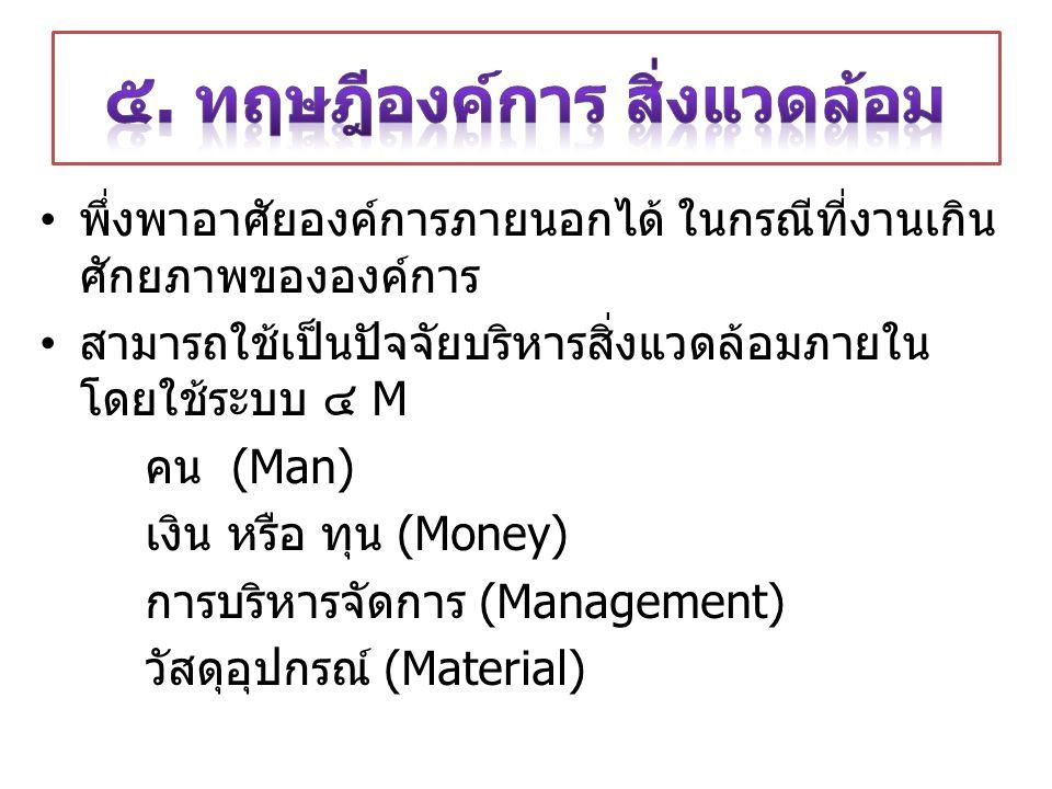 พึ่งพาอาศัยองค์การภายนอกได้ ในกรณีที่งานเกิน ศักยภาพขององค์การ สามารถใช้เป็นปัจจัยบริหารสิ่งแวดล้อมภายใน โดยใช้ระบบ ๔ M คน (Man) เงิน หรือ ทุน (Money) การบริหารจัดการ (Management) วัสดุอุปกรณ์ (Material)