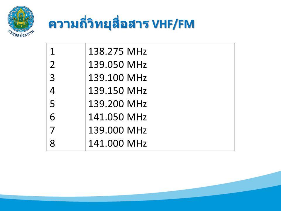 1234567812345678 138.275 MHz 139.050 MHz 139.100 MHz 139.150 MHz 139.200 MHz 141.050 MHz 139.000 MHz 141.000 MHz ความถี่วิทยุสื่อสาร VHF/FM