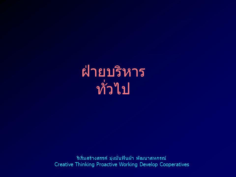 การจัด รายการ วิทยุ ผลการดำเนินงาน ร้อยละ 22.92 ริเริ่มสร้างสรรค์ มุ่งมั่นฟันฝ่า พัฒนาสหกรณ์ Creative Thinking Proactive Working Develop Cooperatives