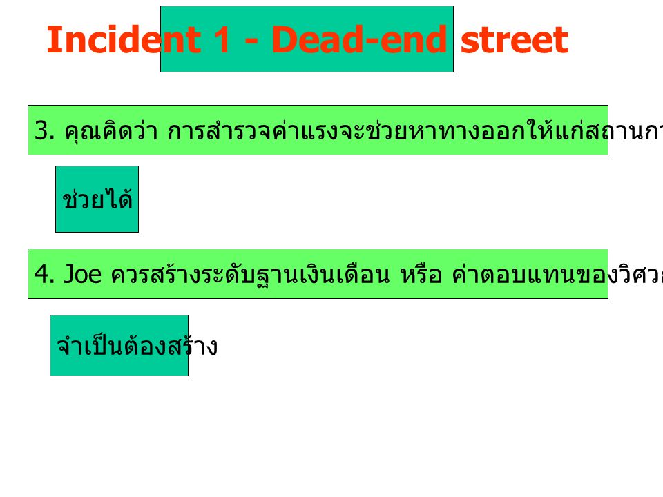 Incident 1 - Dead-end street 3.