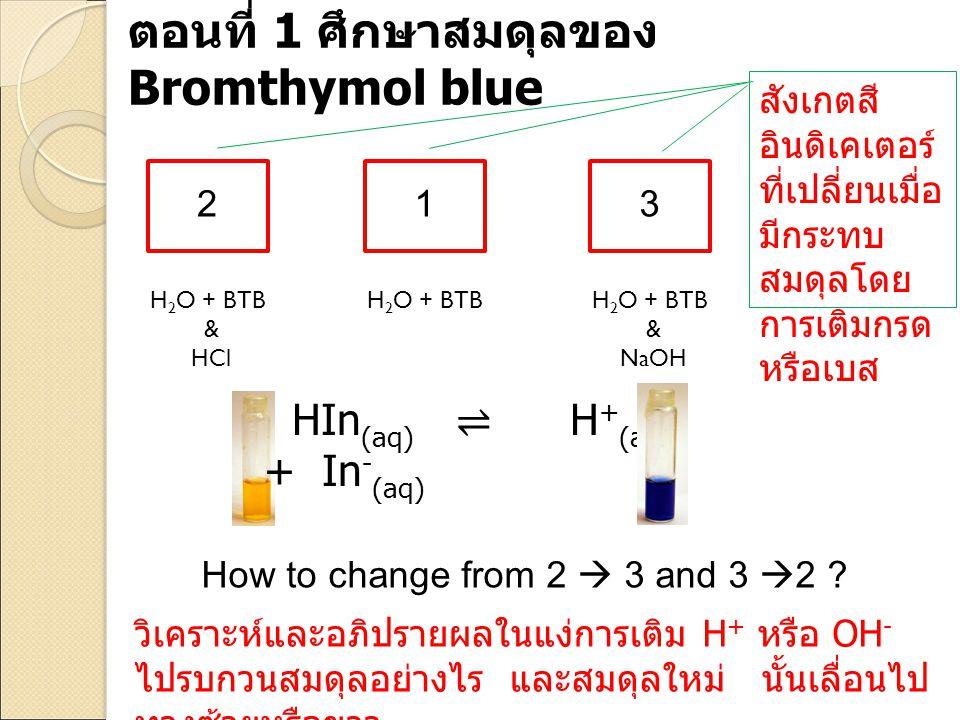 HIn (aq) ⇌ H + (aq) + In - (aq) 123 H 2 O + BTB & HCl H 2 O + BTB & NaOH How to change from 2  3 and 3  2 ? วิเคราะห์และอภิปรายผลในแง่การเติม H + หร