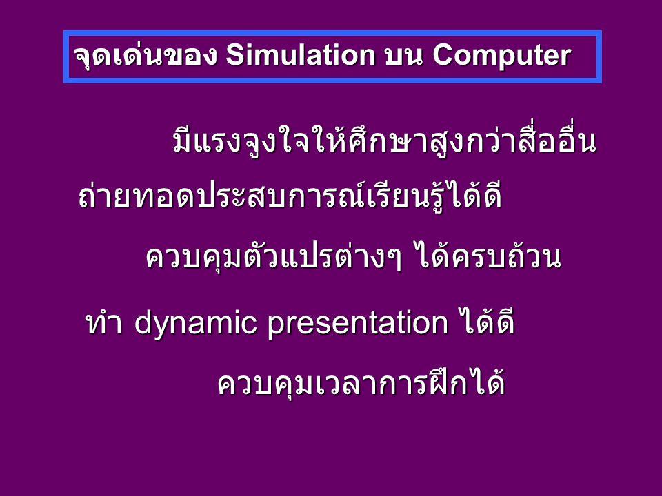 จุดเด่นของ Simulation บน Computer มีแรงจูงใจให้ศึกษาสูงกว่าสื่ออื่น ถ่ายทอดประสบการณ์เรียนรู้ได้ดี ควบคุมตัวแปรต่างๆ ได้ครบถ้วน ทำ dynamic presentation ได้ดี ควบคุมเวลาการฝึกได้