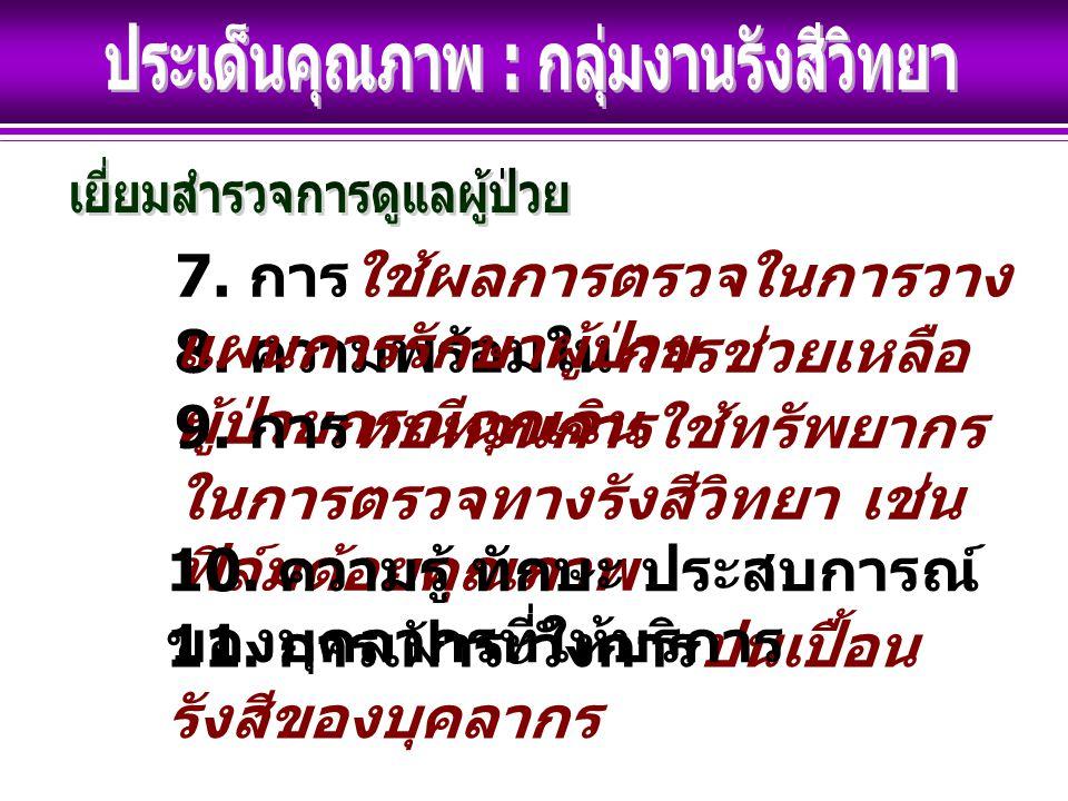 8. ความพร้อมในการช่วยเหลือ ผู้ป่วยกรณีฉุกเฉิน 9.