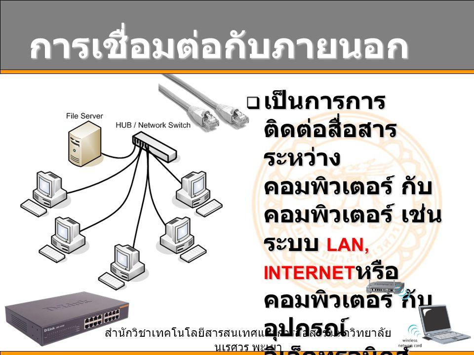 สำนักวิชาเทคโนโลยีสารสนเทศและการสื่อสาร มหาวิทยาลัย นเรศวร พะเยา 18 การเชื่อมต่อกับภายนอก  เป็นการการ ติดต่อสื่อสาร ระหว่าง คอมพิวเตอร์ กับ คอมพิวเตอร์ เช่น ระบบ LAN, INTERNET หรือ คอมพิวเตอร์ กับ อุปกรณ์ อิเล็คทรอนิกส์ เช่น USB เป็นต้น