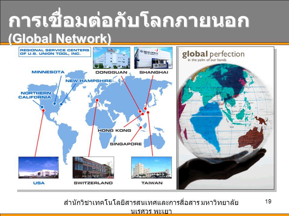 สำนักวิชาเทคโนโลยีสารสนเทศและการสื่อสาร มหาวิทยาลัย นเรศวร พะเยา 19 การเชื่อมต่อกับโลกภายนอก (Global Network)