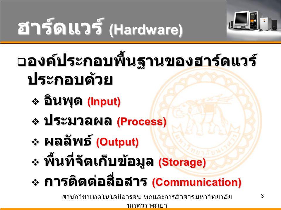 สำนักวิชาเทคโนโลยีสารสนเทศและการสื่อสาร มหาวิทยาลัย นเรศวร พะเยา 3 ฮาร์ดแวร์ (Hardware)  องค์ประกอบพื้นฐานของฮาร์ดแวร์ ประกอบด้วย  อินพุต (Input)  ประมวลผล (Process)  ผลลัพธ์ (Output)  พื้นที่จัดเก็บข้อมูล (Storage)  การติดต่อสื่อสาร (Communication)